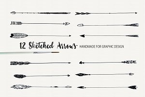 12 Hand Sketched Arrows