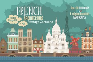French Architecture Vintage Cartoons