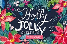 Holly Jolly - Watercolor Floral Set