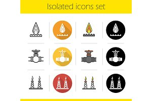Gas industry. 12 icons set. Vector