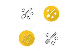 Spoon with sugar cubes icons. Vector
