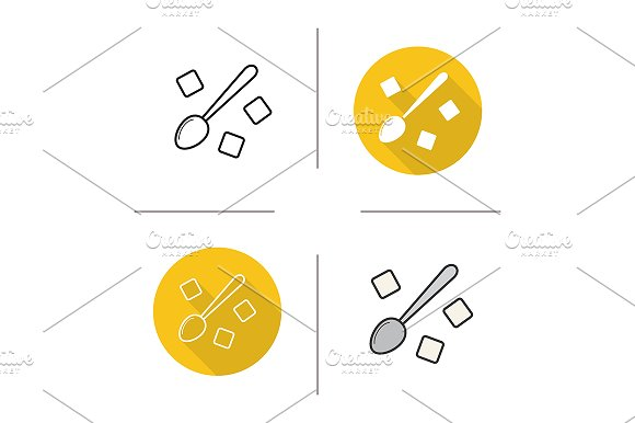 Spoon with sugar cubes icons. Vector - Icons
