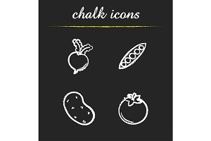 Vegetables. 4 icons set. Vector