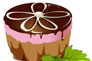 Chocolate cake, dessert vector