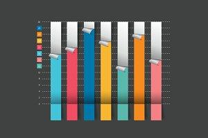 Column flat chart graph