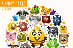 A lot of icons funny animals