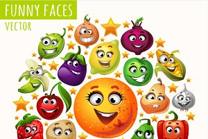 Funny faces of fruits and vegetables