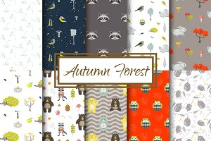 Autumn Forest Seamless Patterns
