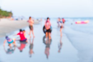 Blur people on beach