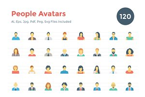 120 Flat People Avatar Icons