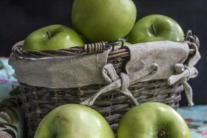 Green Apples and Basket
