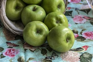 Granny Smith Apples and Basket