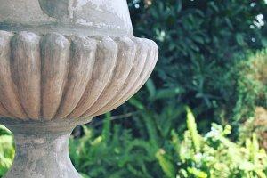 Roman urn in a garden
