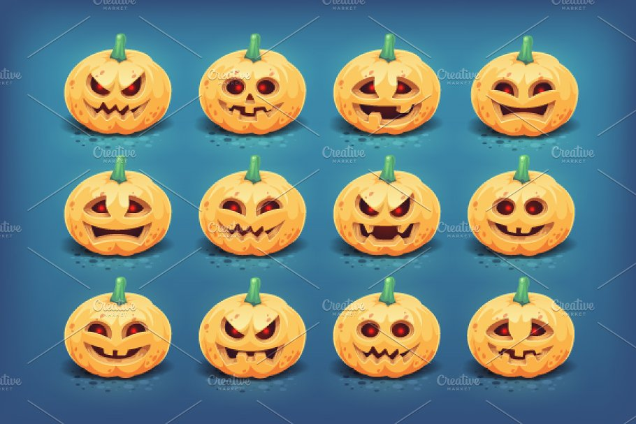 02189340d50 Halloween pumpkins - Jack-o-lantern ~ Graphic Objects ~ Creative Market