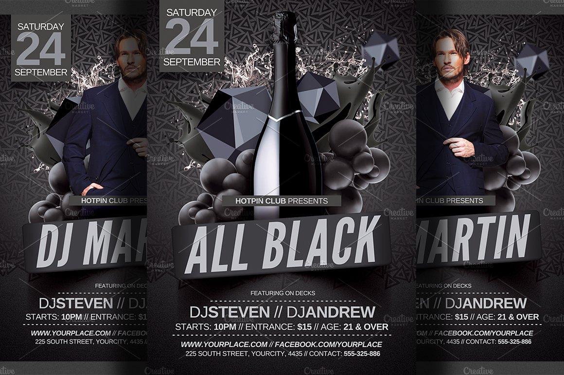 all black party flyer template flyer templates creative market