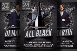 All Black Party Flyer Template