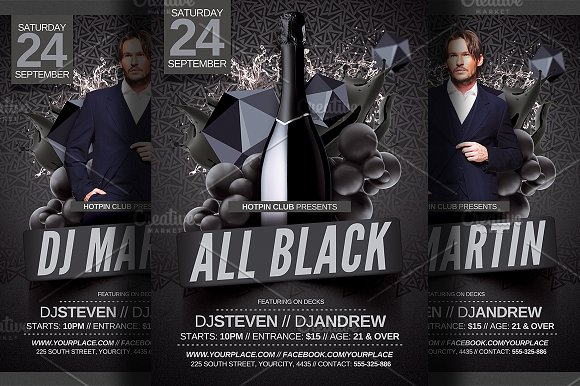 All Black Party Flyer Template ~ Flyer Templates ~ Creative Market
