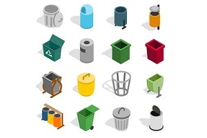 Trash bin icons set