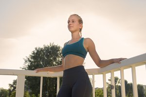 One teenage girl fitness outdoor sun