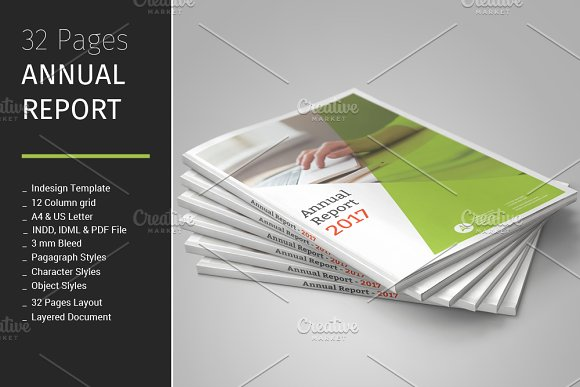 32 Pages Annual Report Template Brochure Templates Creative Market