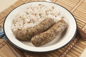 Fried sausages and rice