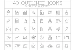 Business and office linear icon set