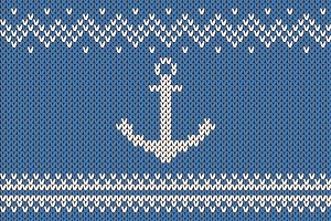 Anchor ornament on knitted texture