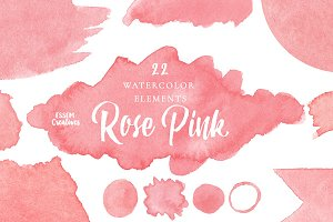 Pink Watercolor Splash Clipart SET