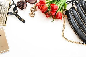 Fashion flat lay mobile phone JPG