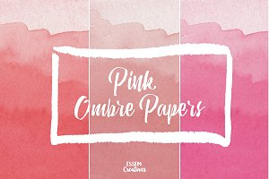 Pink Ombre Watercolor Texture Pack