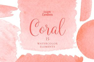 Coral Watercolor Splash Clipart SET