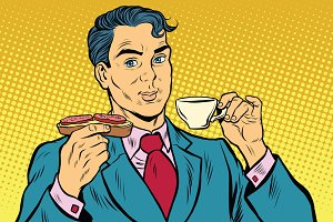 Retro businessman eating Breakfast