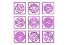 set pink Greek borders vector