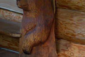 Wooden bear statue