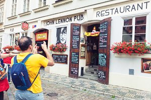 John Lennon pub entrance in Prague