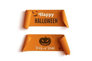 Two orange Halloween banners.