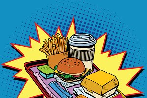 Fast food dinner pop art style