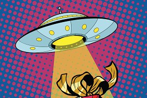 UFO abducts gift box