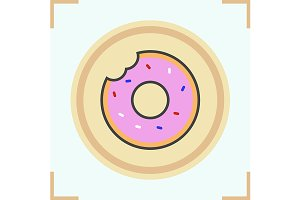 Doughnut color icon. Vector