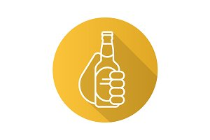 Hand with beer bottle icon. Vector