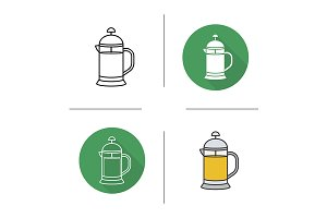 French press. 4 icons. Vector
