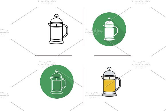 French press. 4 icons. Vector - Icons