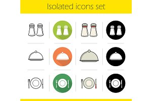 Restaurant equipment icons. Vector