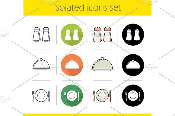 Restaurant equipment icons. Vector - Icons