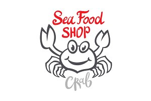 Crab silhouette. Seafood shop logo