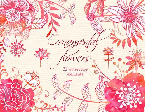 Ornamental pink flowers clip arts