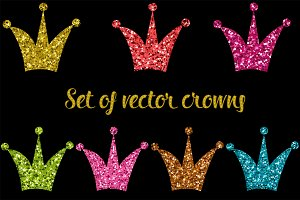 Vector set of shiny crowns