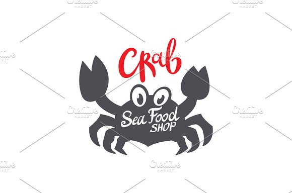 Crab silhouette. Seafood shop logo - Graphics