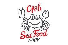 Crab silhouette. Seafood shop logo