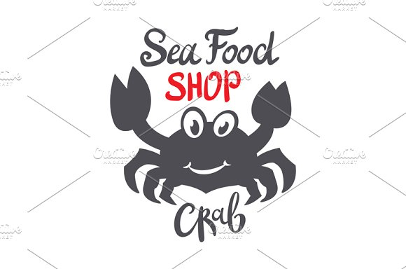 Crab silhouette. Seafood shop logo - Graphics